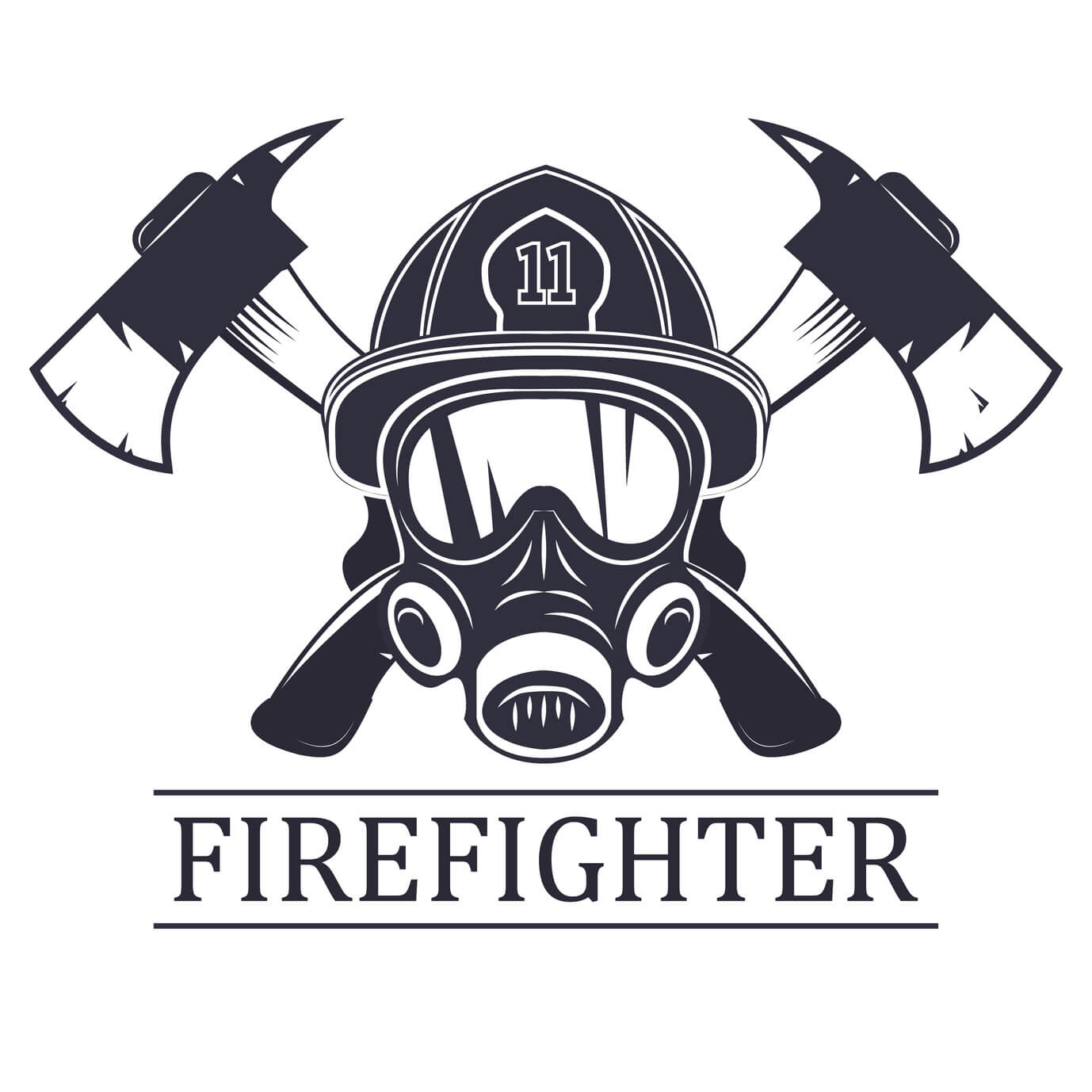 Black and white firefighter mask with axes in background. Firefighters logo.