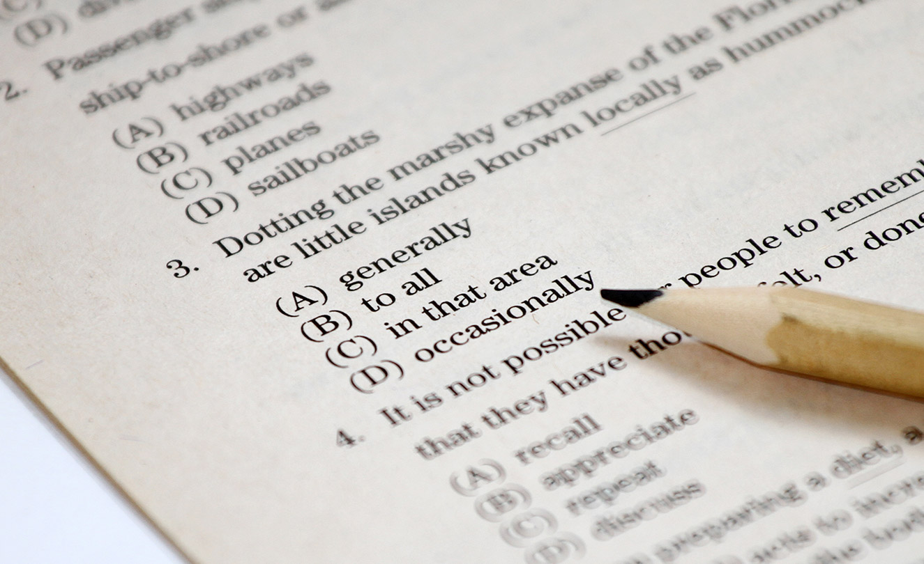 Pencil laying on firefighter test. Written test anxiety.