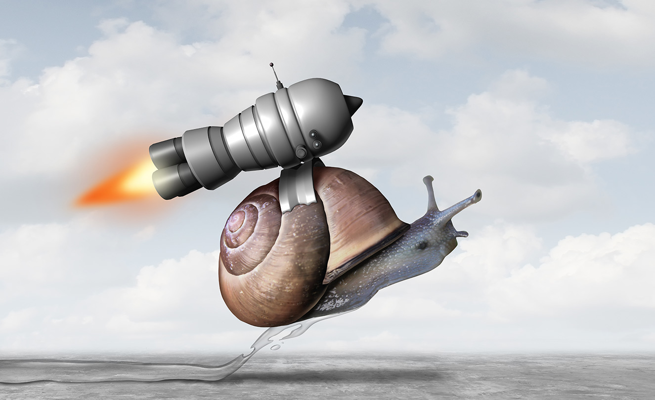 a snail with a jet pack engine to accelerate success as a metaphor