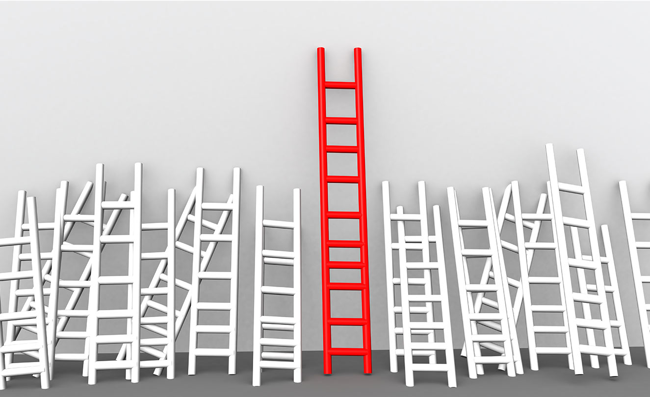 A wall with ladders and one red tall ladder. Your competitive advantage.