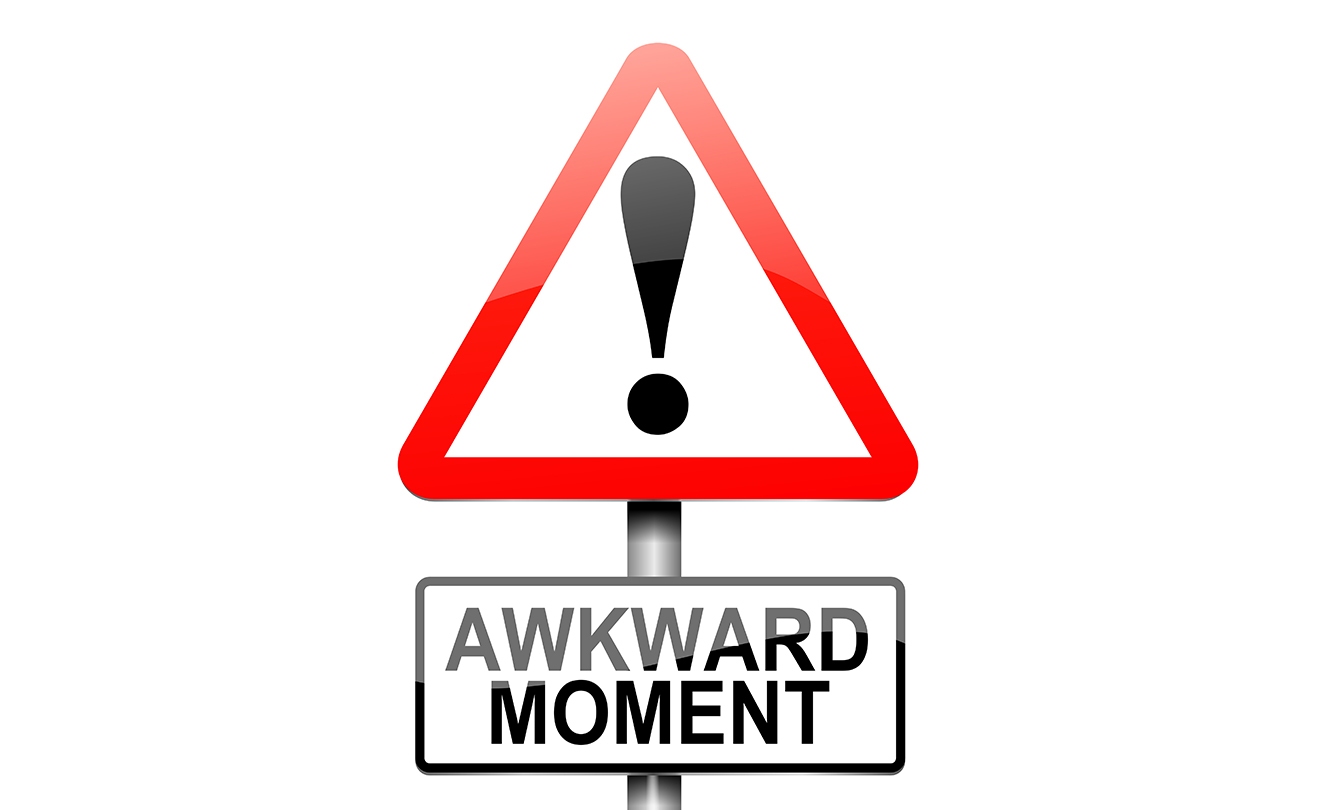 "Triangular traffic sign with ""Awkward Moment"" undernealth. Don't make your firefighter interview awkward."