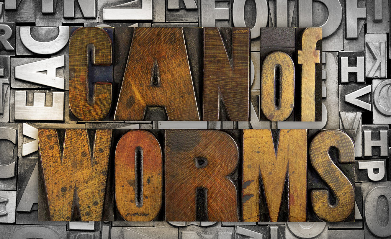 "The Words ""Can of Worms"" on a Wall."