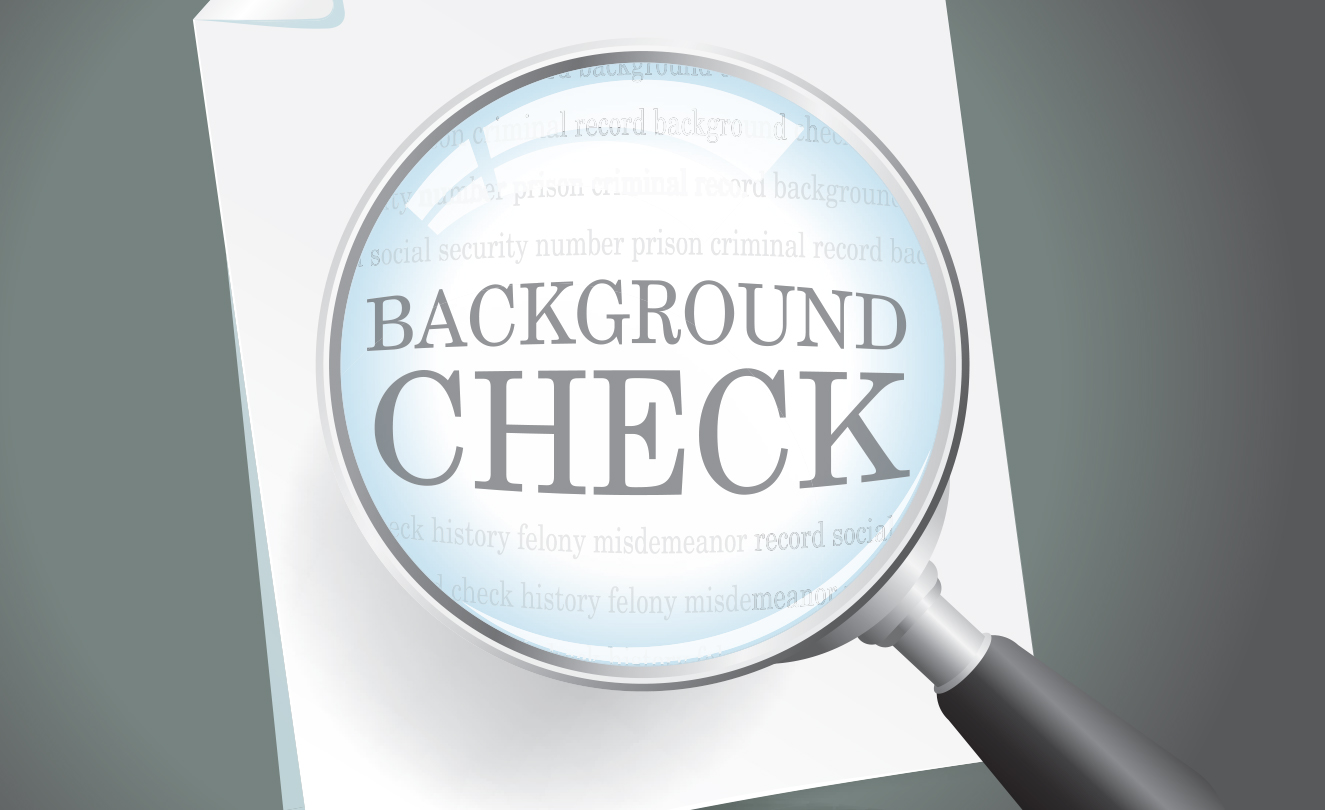 Magnifying glass with words Background Check.